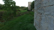 Visby medieval citywall during sunset on the island Gotland in Sweden Stock Footage