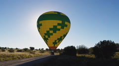 Inflated Hot Air Balloon On Ground Ready For Take-Off Stock Footage