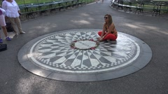 The John Lennon 'Imagine' memorial (4K), Central Park, New York, United States. Stock Footage