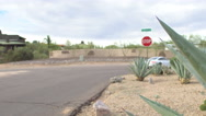 Stop sign on a desert road Stock Footage