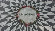 The John Lennon 'Imagine' memorial (4K), Central Park, New York, United States. Stock Footage