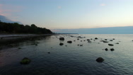 Calm ocean during sunset at the island of Gotland Stock Footage