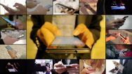 composition of  busy  hands typing on cell phone Stock Footage