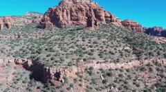 Aerial Camera Gliding Toward Bear Mountain- Sedona Arizona Stock Footage