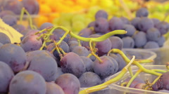 Small baskets of grapes exposed to the market Stock Footage