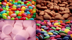 Candy And Chocolate Snacks Montage Stock Footage