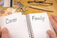 Family over career concept Stock Photos