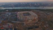 The construction of football stadium. Stock Footage