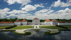 Aerial shot with backward motion of the Nymphenburg Palace Stock Footage