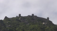 Castle in a mountain top with blue sky Stock Footage