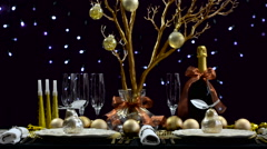 New Years Eve party dinner table Stock Footage