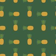 Fresh Ripe Pineapple Seamless Pattern Stock Illustration
