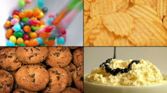 Kid's Party Snacks Montage Stock Footage