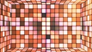 Broadcast Twinkling Hi-Tech Cubes Room, Orange, Abstract, Loopable, 4K Stock Footage