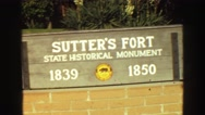 1968: sign outside the historic sutter's fort in a state park VANCOUVER, CANADA Stock Footage