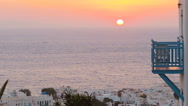 Beautiful colorful sunset of amazing greek town Mykonos Stock Footage