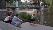 The Little Girl Walking a Dog in a Public Park Stock Footage