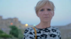 Blonde 50 year old woman goes no with her finger Stock Footage