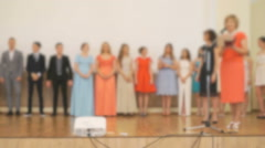 Presentation of diploma to students at a gymnasium Stock Footage