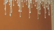 Crystal chandelier on fashion ceiling Stock Footage