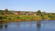 Rural village on the banks of the Svir River in north Russia Stock Footage
