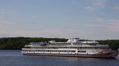 Cruise passenger ship on the Svir river in northern Russia Stock Footage
