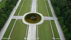 Aerial footage with upward tilt and movement of the Nymphenburg Palaces garden Stock Footage