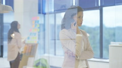 4K Businesswoman in office talking on phone & discussing the call with colleague Stock Footage