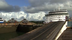 Panama Canal Ship Waiting Canal Entrance Time Lapse Stock Footage