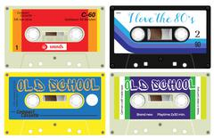 Audio cassette records Stock Illustration