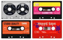 Audio cassette records Stock Illustration