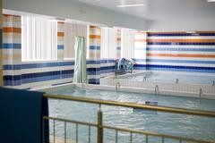 Small indoor swimming pool empty, noone sport life concept Stock Photos