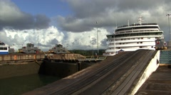 Panama Canal Cruise Ship Awaiting to enter Stock Footage