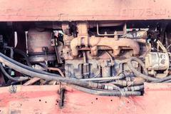Vintage engine block of a disused machine with obvious signs of wear Stock Photos
