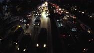 Rush hour night vehicle traffic. aerial Stock Footage