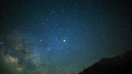 Astro Time Lapse of Milky Way & Moon Rise over Sierra Nevada Mtns -Tilt Down- Stock Footage