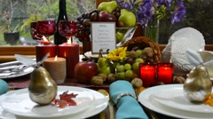 Colorful rustic style Thanksgiving table Stock Footage