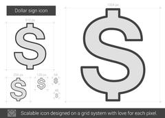 Dollar sign line icon Stock Illustration