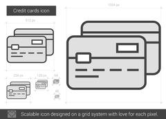 Credit cards line icon Stock Illustration