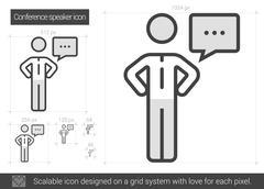 Conference speaker line icon Stock Illustration