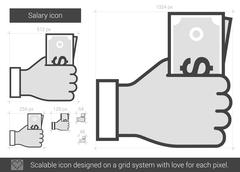 Salary line icon Stock Illustration