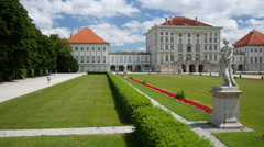 Aerial shot of the Nymphenburg palaces main building Stock Footage