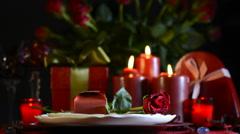 Romantic Valentine table setting Stock Footage
