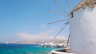 Famous view of traditional greek windmills on Mykonos island at sunrise Stock Footage