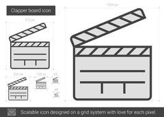 Clapper board line icon Stock Illustration