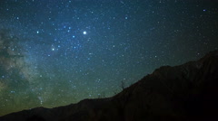 Astro Time Lapse of Milky Way & Moon Rise over Sierra Nevada Mtns -Pan Left- Stock Footage
