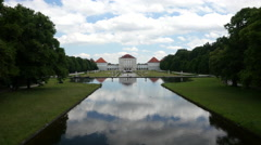 Aerial shot of middle canal and back garden of the Nymphenburg palace Stock Footage