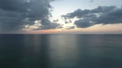 Aerial Horizon Sunset Grand Cayman Stock Footage