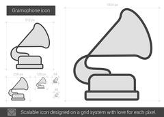 Gramophone line icon Piirros