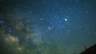 Astro Time Lapse of Milky Way & Moon Rise over Sierra Nevada Mtns -Zoom Out- Stock Footage